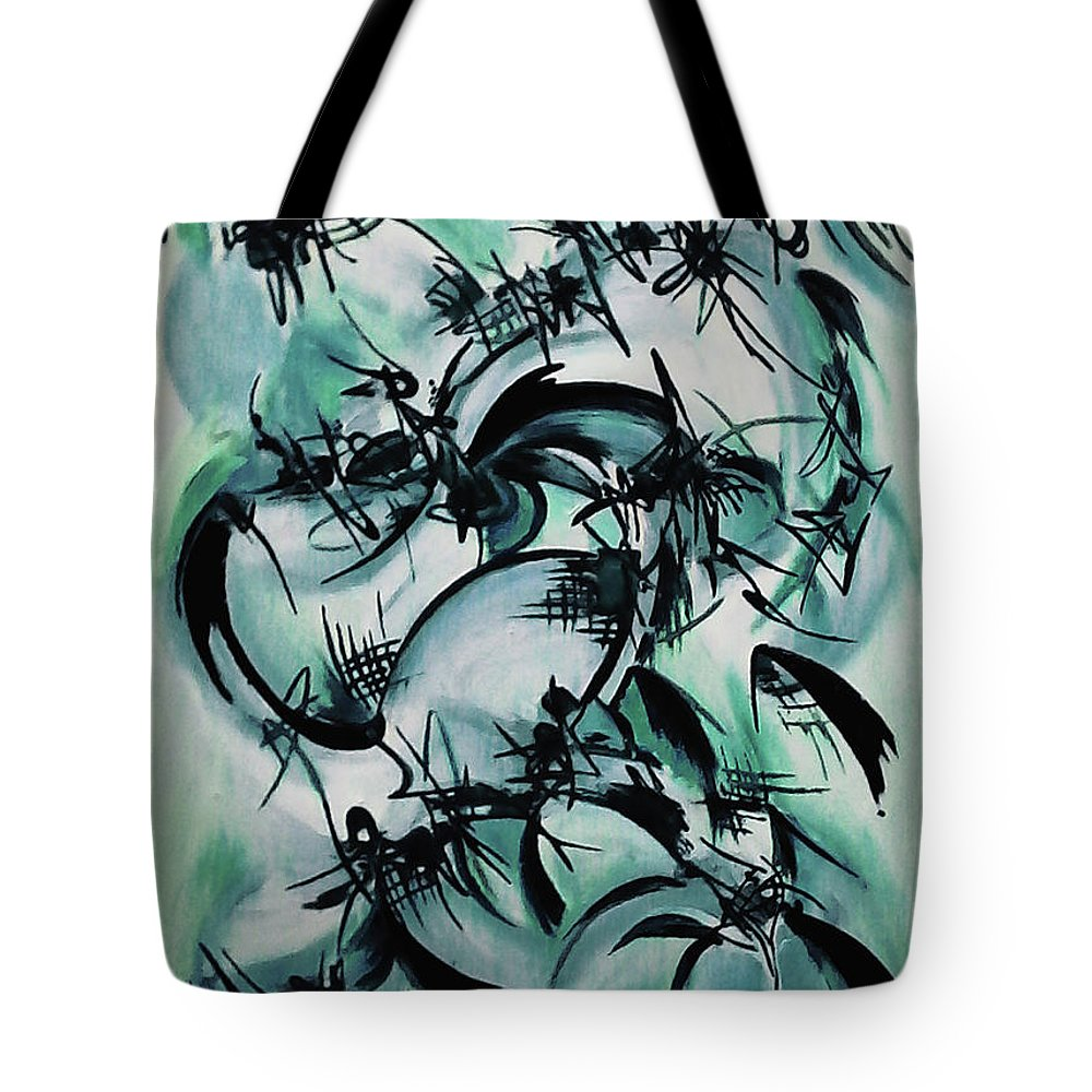 Abstract Expressionism Tote Bag featuring the painting Blue Abstraction by Carmen Fine Art