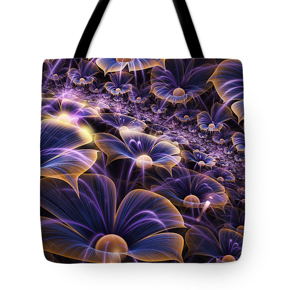 Fractal Tote Bag featuring the mixed media Blue And Gold Fractal Flowers by Garland Johnson