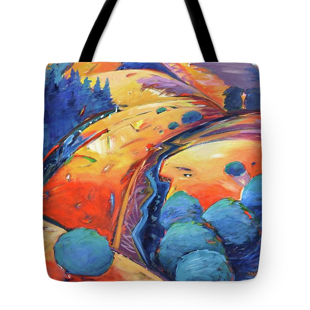 Hills Tote Bag featuring the painting Blue And Gold by Gary Coleman