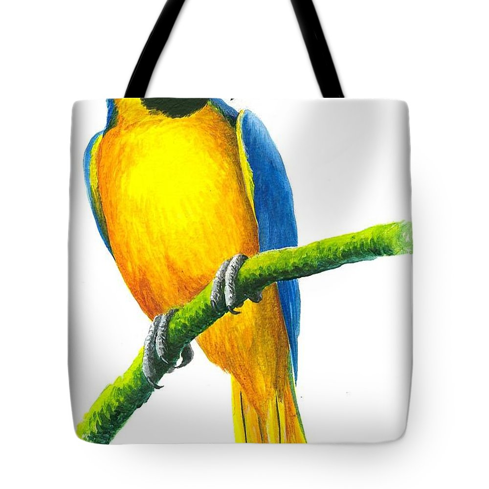 Chris Cox Tote Bag featuring the painting Blue And Gold Macaw by Christopher Cox