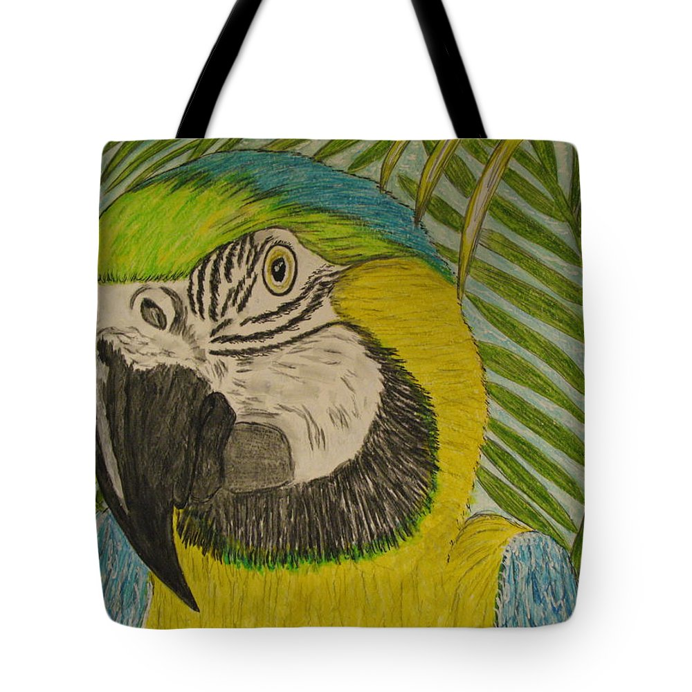 Macaw Tote Bag featuring the painting Blue And Gold Macaw Parrot by Kathy Marrs Chandler