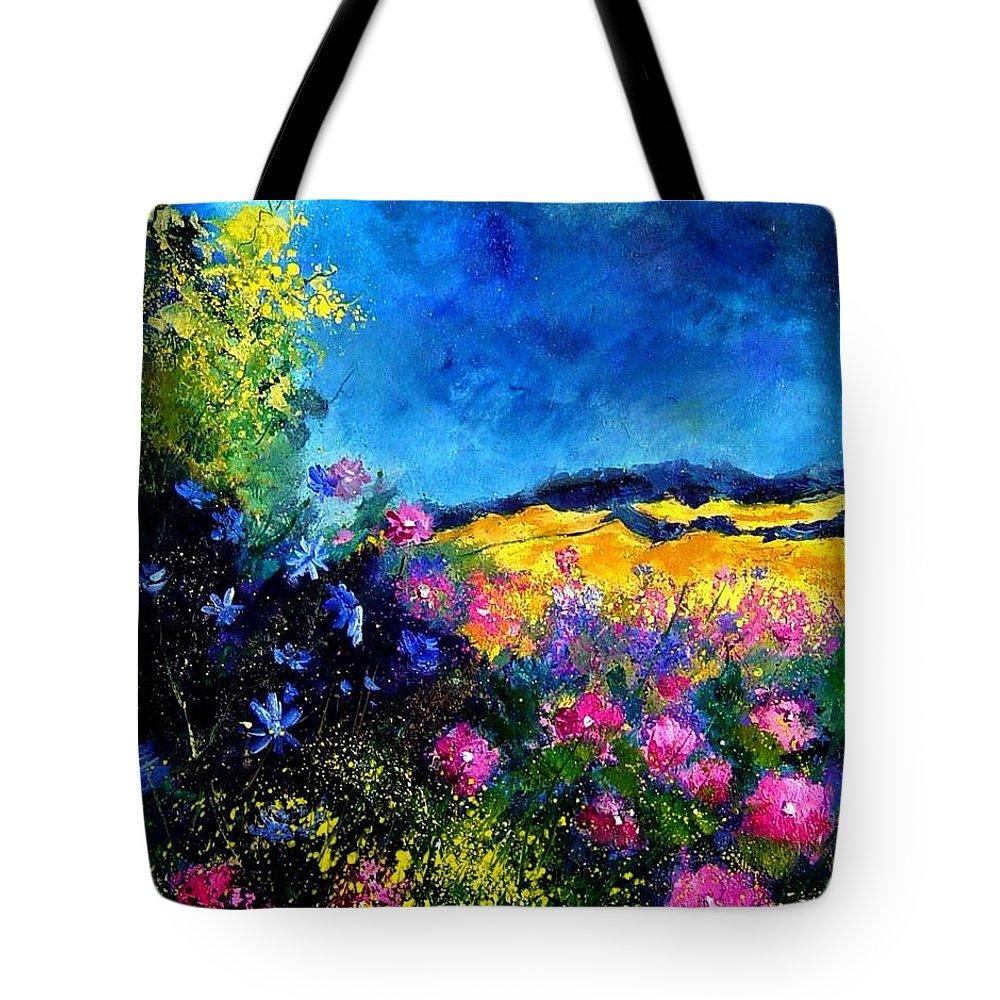 Landscape Tote Bag featuring the painting Blue and pink flowers by Pol Ledent