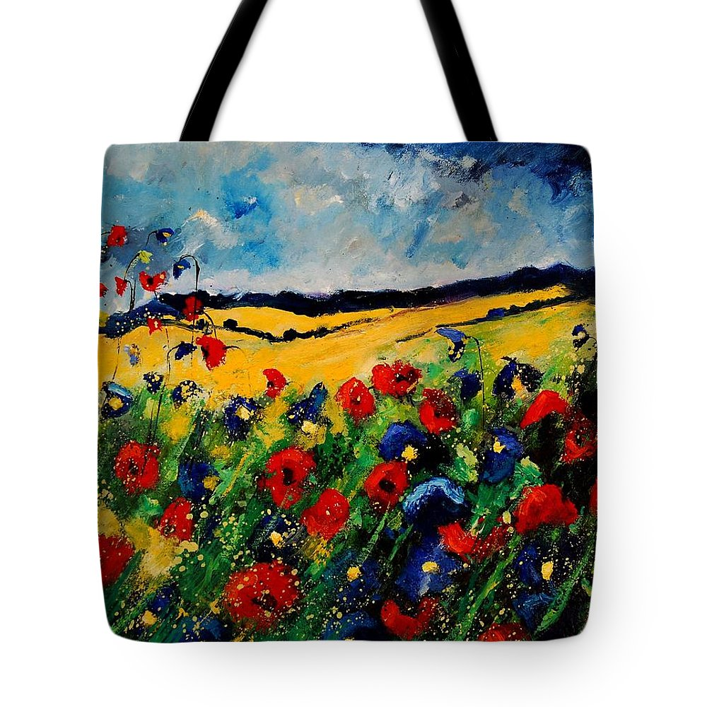 Poppies Tote Bag featuring the painting Blue And Red Poppies 45 by Pol Ledent