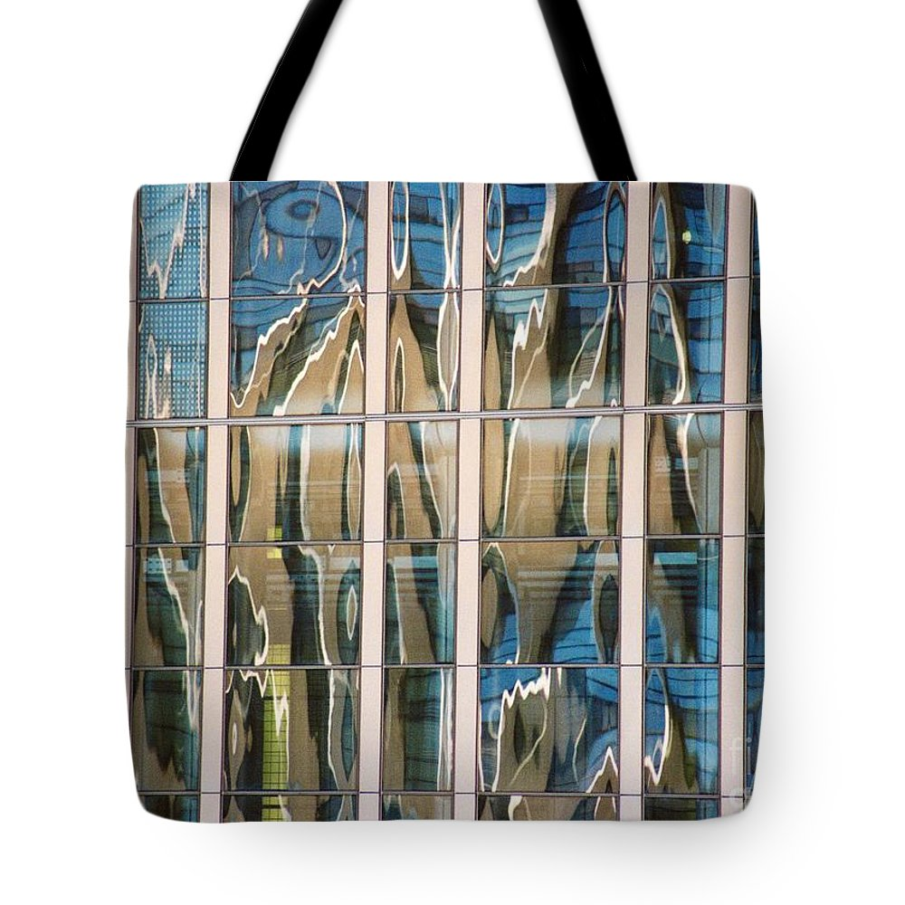Reflection Tote Bag featuring the photograph Blue And Tan Abstract by Dennis Knasel