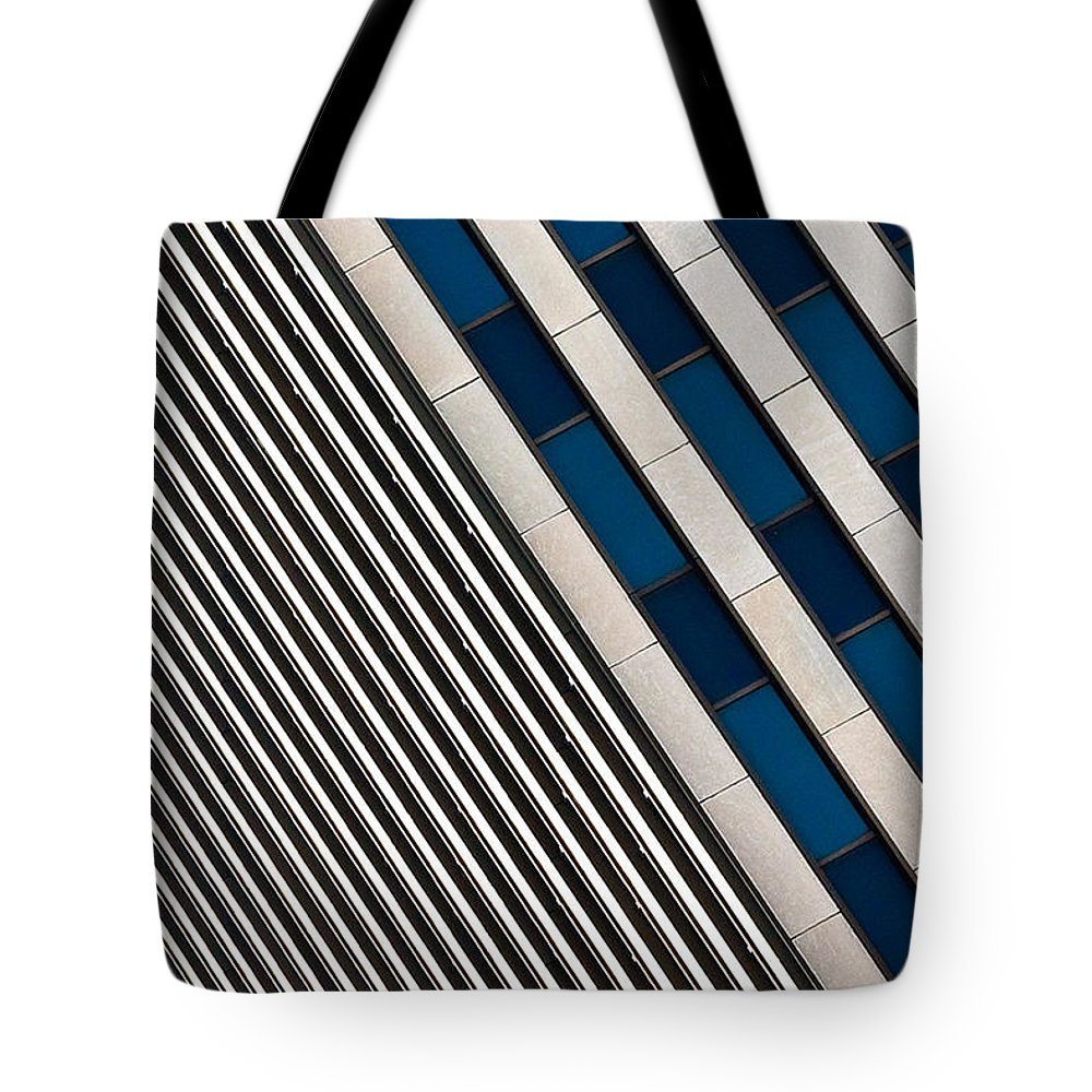 Cincinnati Tote Bag featuring the photograph Blue And White Diagonals by Keith Allen