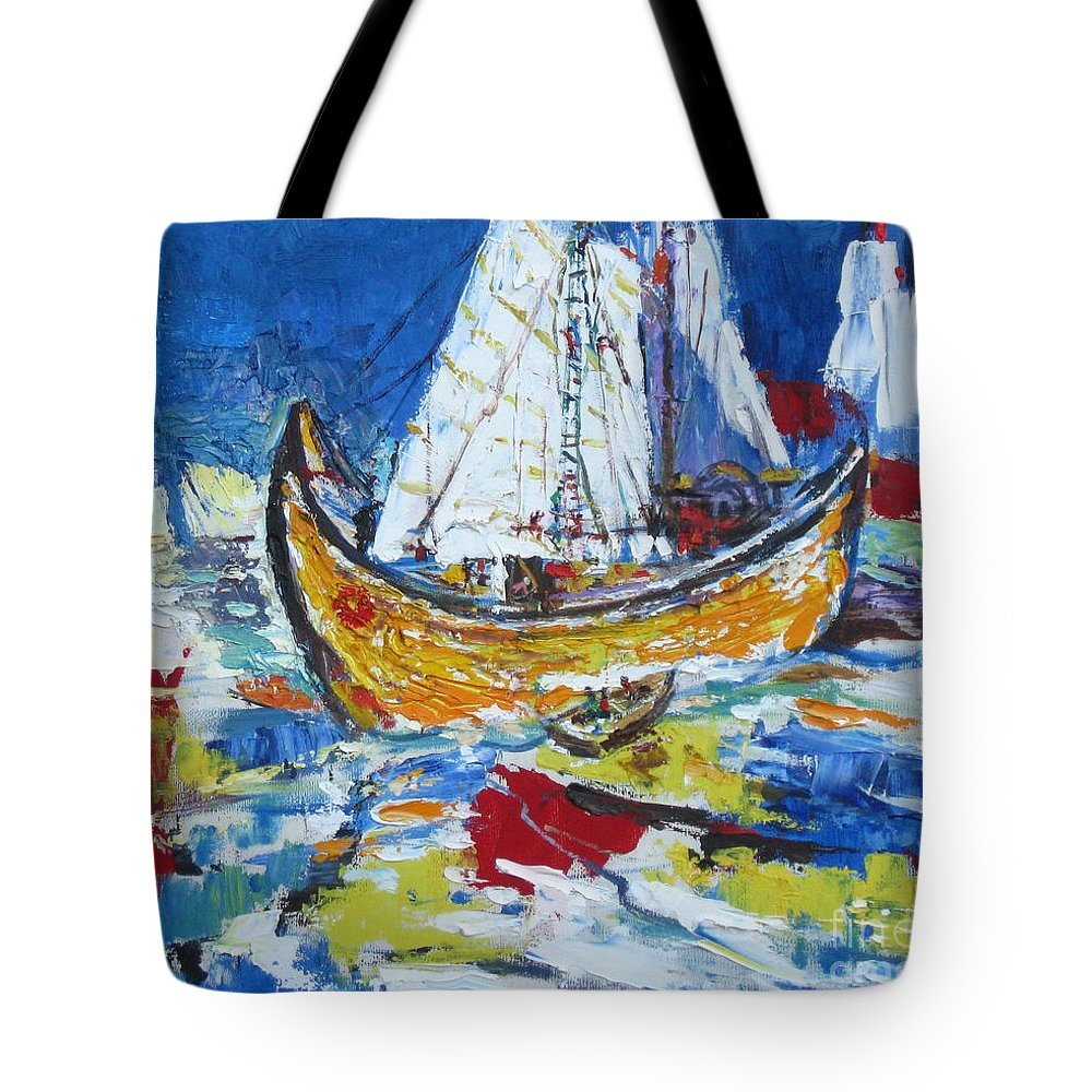 Boat Tote Bag featuring the painting Blue And White by Guanyu Shi