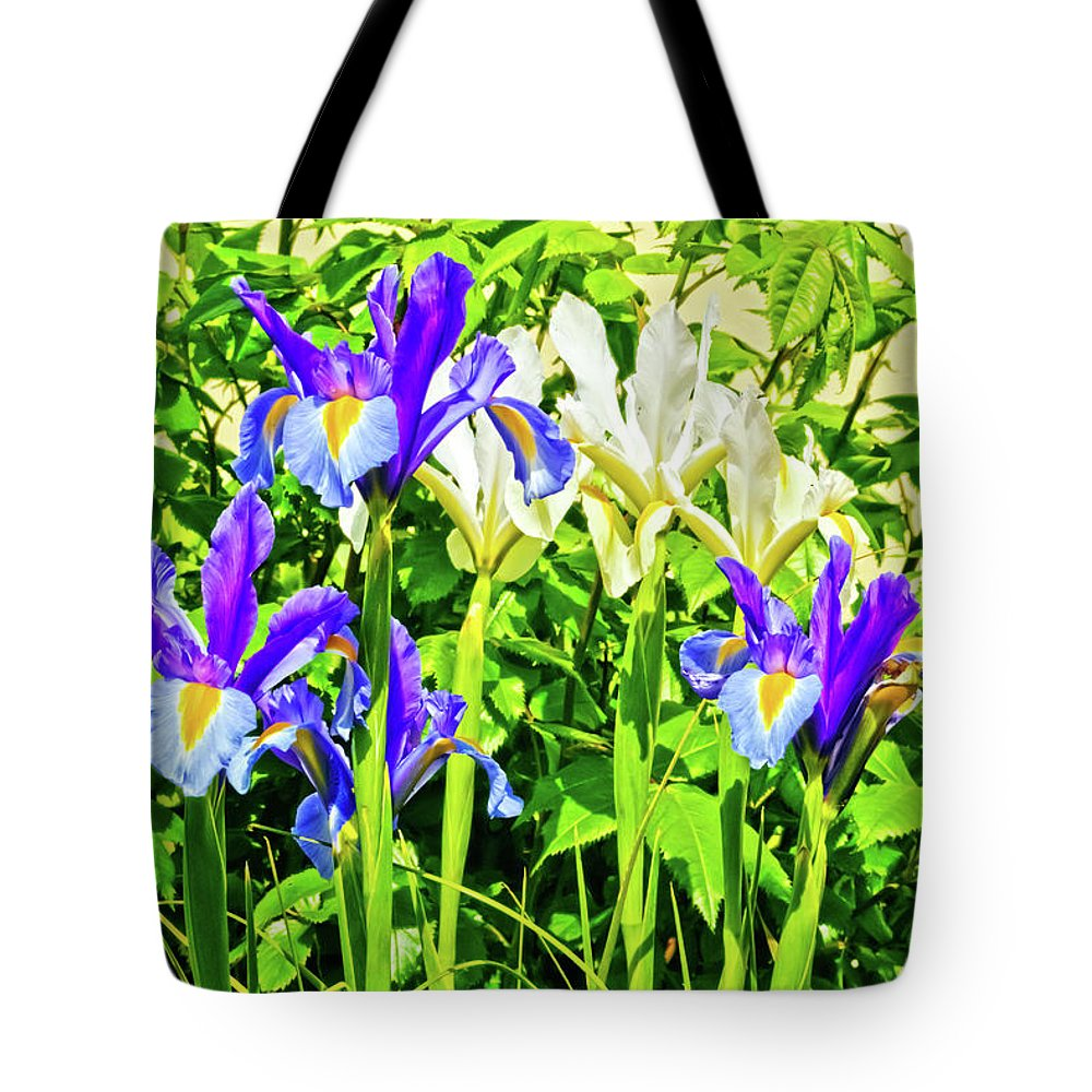Flower Tote Bag featuring the photograph Blue And White Iris by Terri Waters