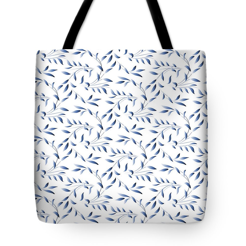 Willow Tote Bag featuring the digital art Blue And White Willow Pattern by Antique Images