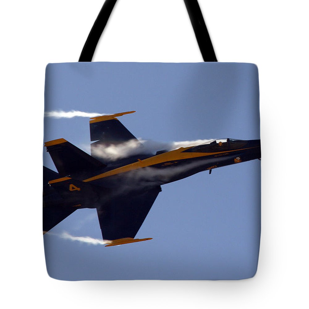 Jet Photos Tote Bag featuring the photograph Blue Angel 4 Pulling A Vapor Trail Into The Empty Air... by Strato ThreeSIXTYFive