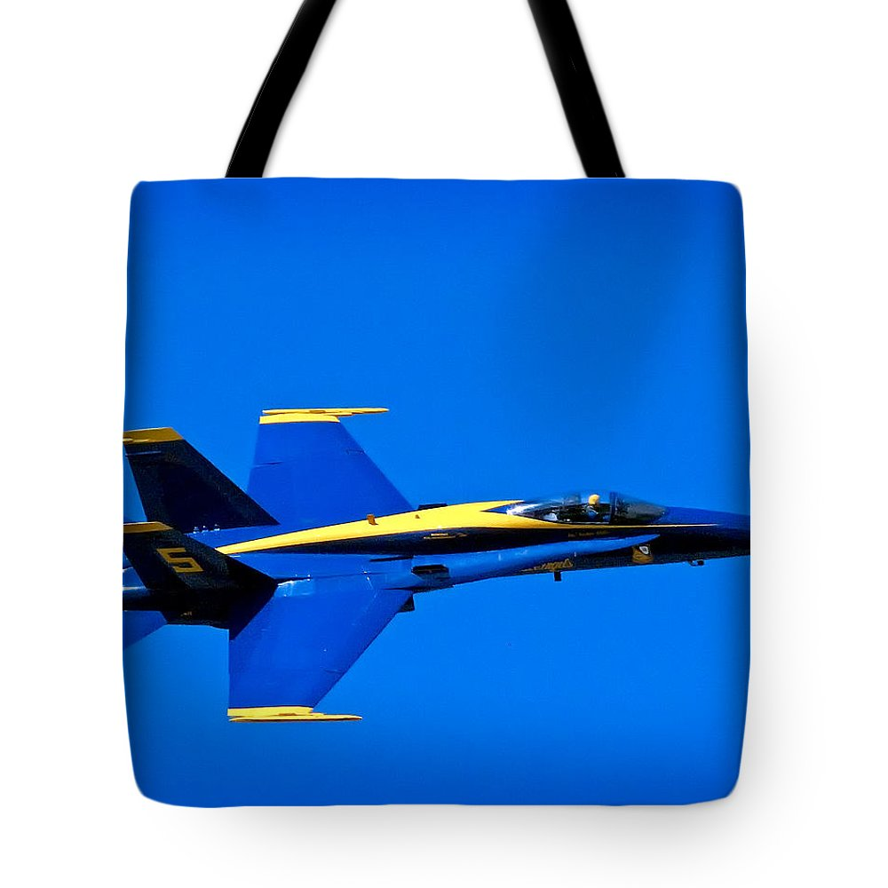 Blue Tote Bag featuring the photograph Blue Angel Fly By by Gary Prill