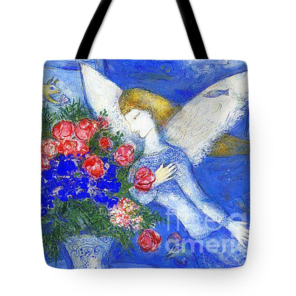 Hand painted mini tote bag baby angel