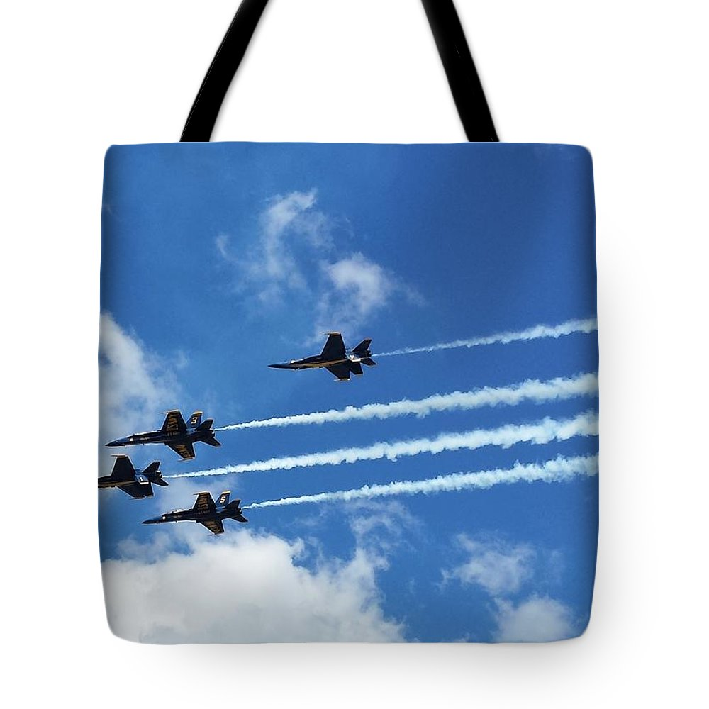 Blue Angels Tote Bag featuring the photograph Blue Angels Air Show by Jeanette Conrad