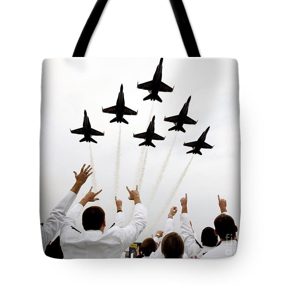 Blue Angels Fly Over The Usna Graduation Ceremony Tote Bag featuring the painting Blue Angels Fly Over The Usna Graduation Ceremony by Celestial Images