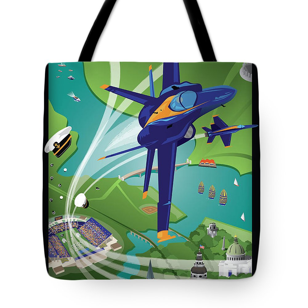 Blue Angels Tote Bag featuring the digital art Blue Angels Over Annapolis Usna by Joe Barsin