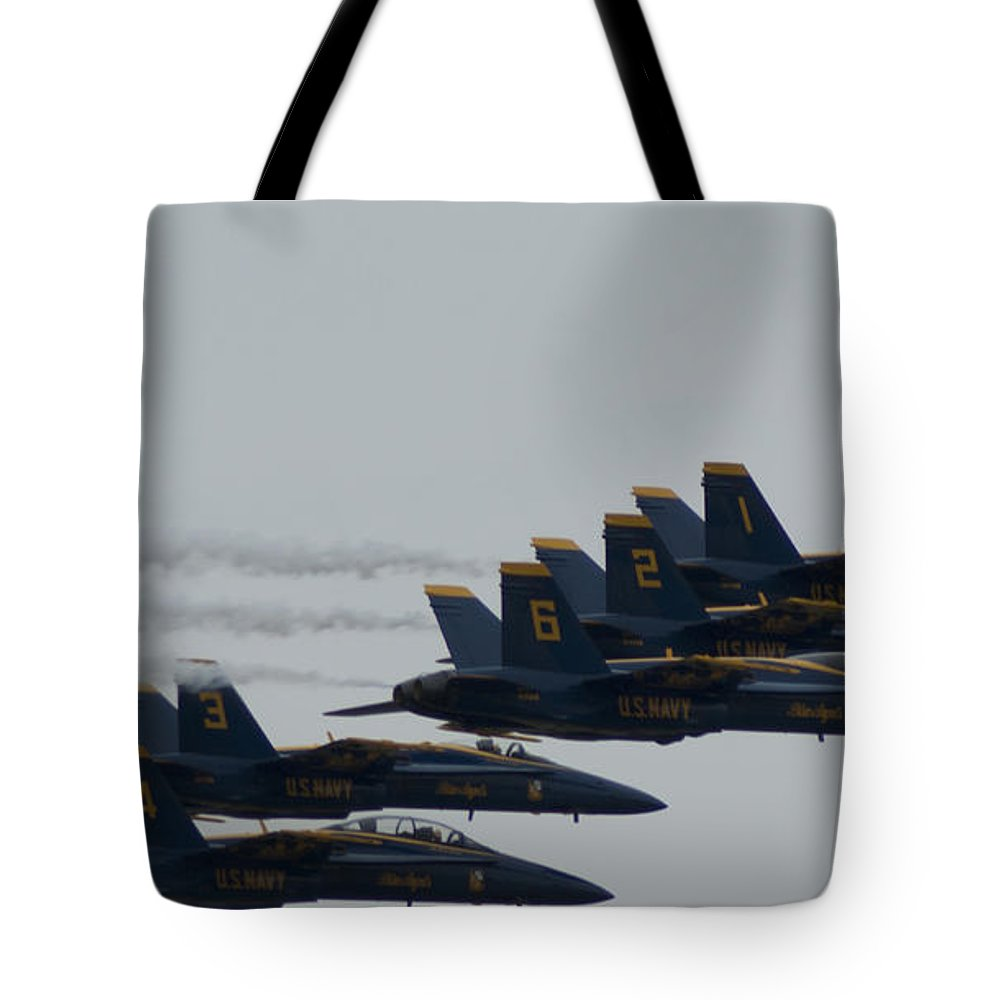 Blue Angels Aviation Air Shows Navy Pilots Tote Bag featuring the photograph Blue Angels Over Show Center by Julie Cochran