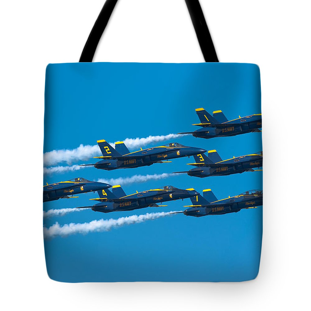 Us Navy Tote Bag featuring the photograph Blue Angels by Sebastian Musial