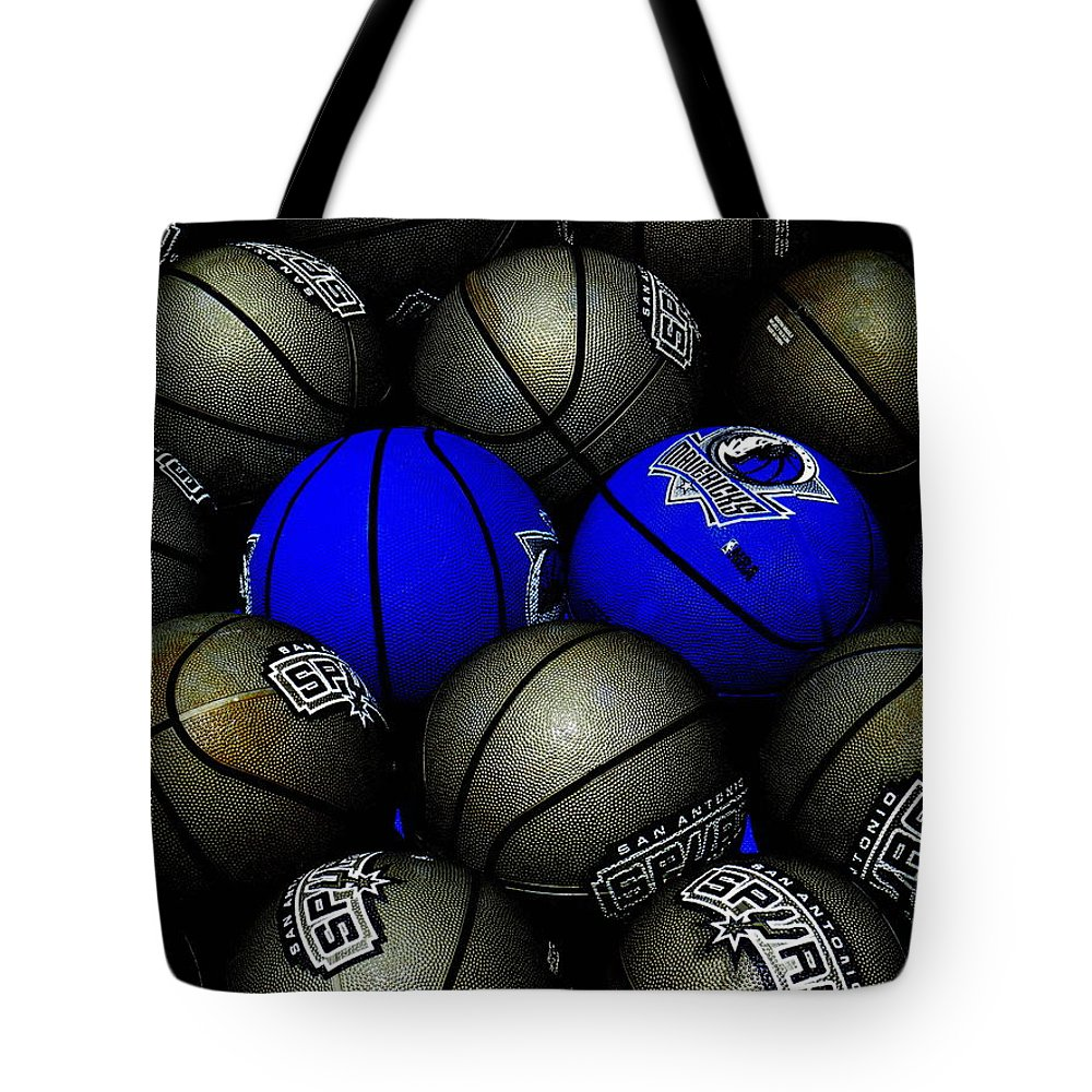 Basketball Tote Bag featuring the photograph Blue Balls by Ed Smith