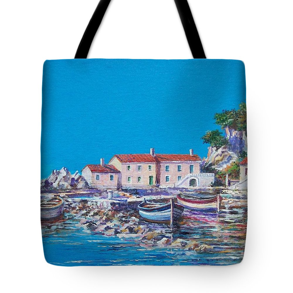 Original Painting Tote Bag featuring the painting Blue Bay by Sinisa Saratlic