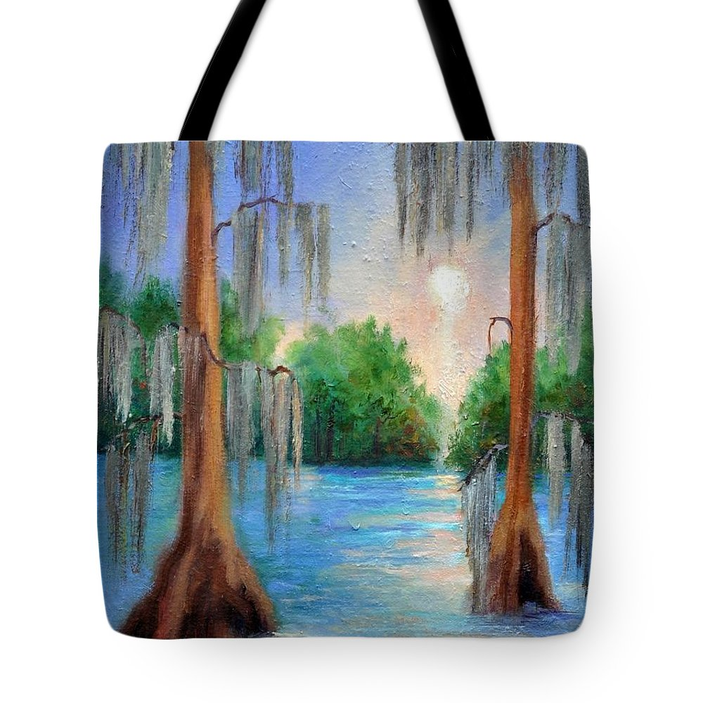Bayou Landscape Tote Bag featuring the painting Blue Bayou by Ginger Concepcion