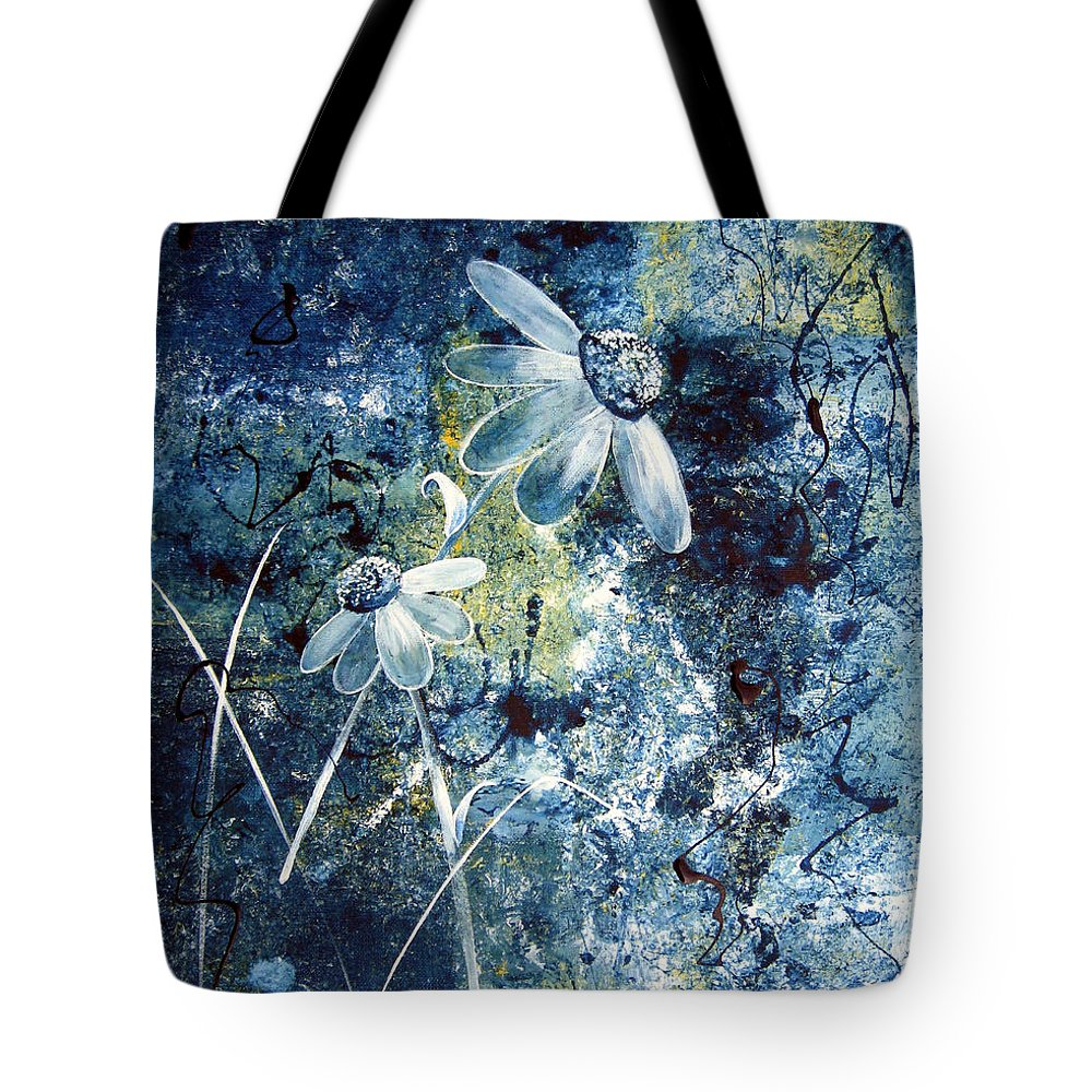 Abstract Tote Bag featuring the painting Blue Beauties by Ruth Palmer
