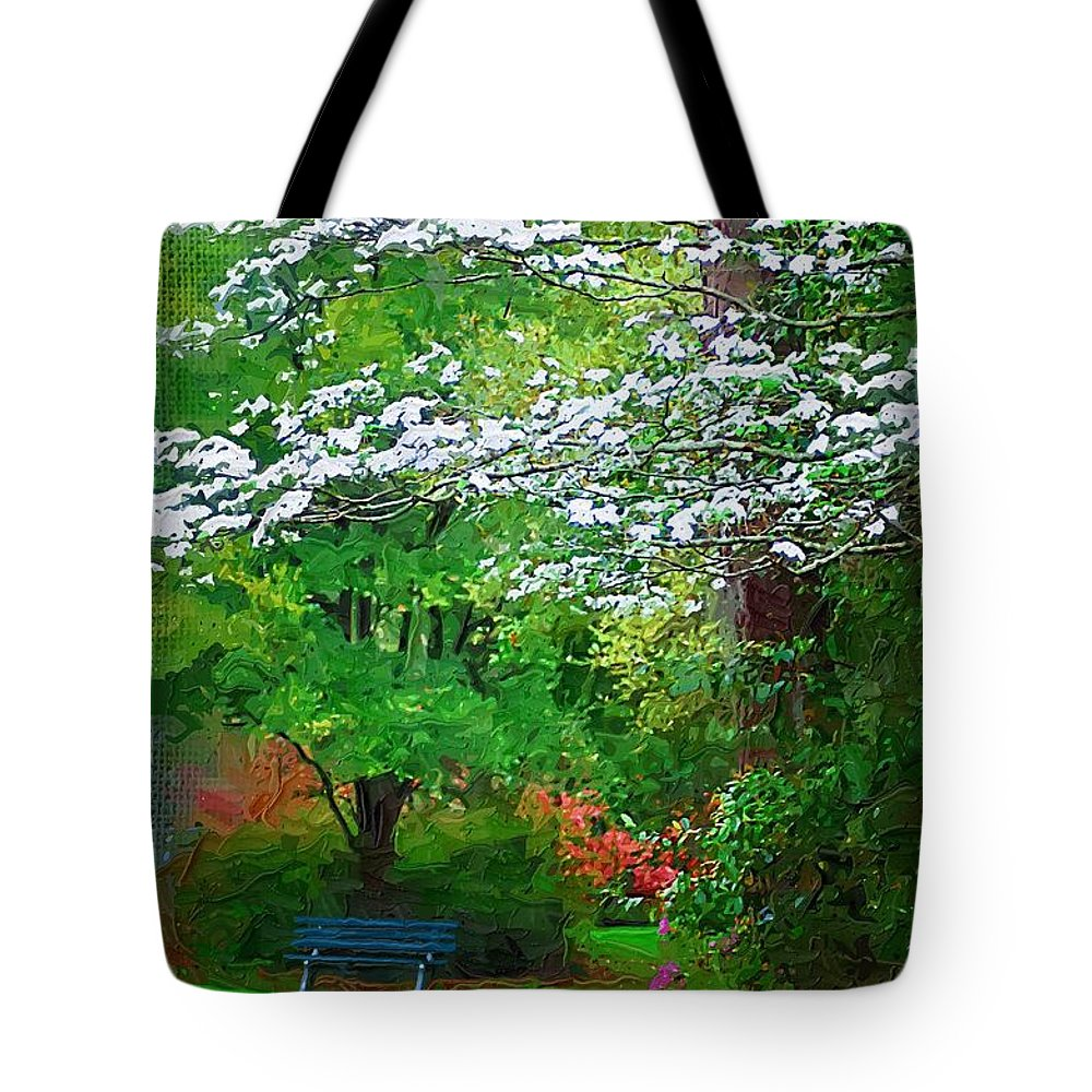 Park Tote Bag featuring the photograph Blue Bench In Park by Donna Bentley