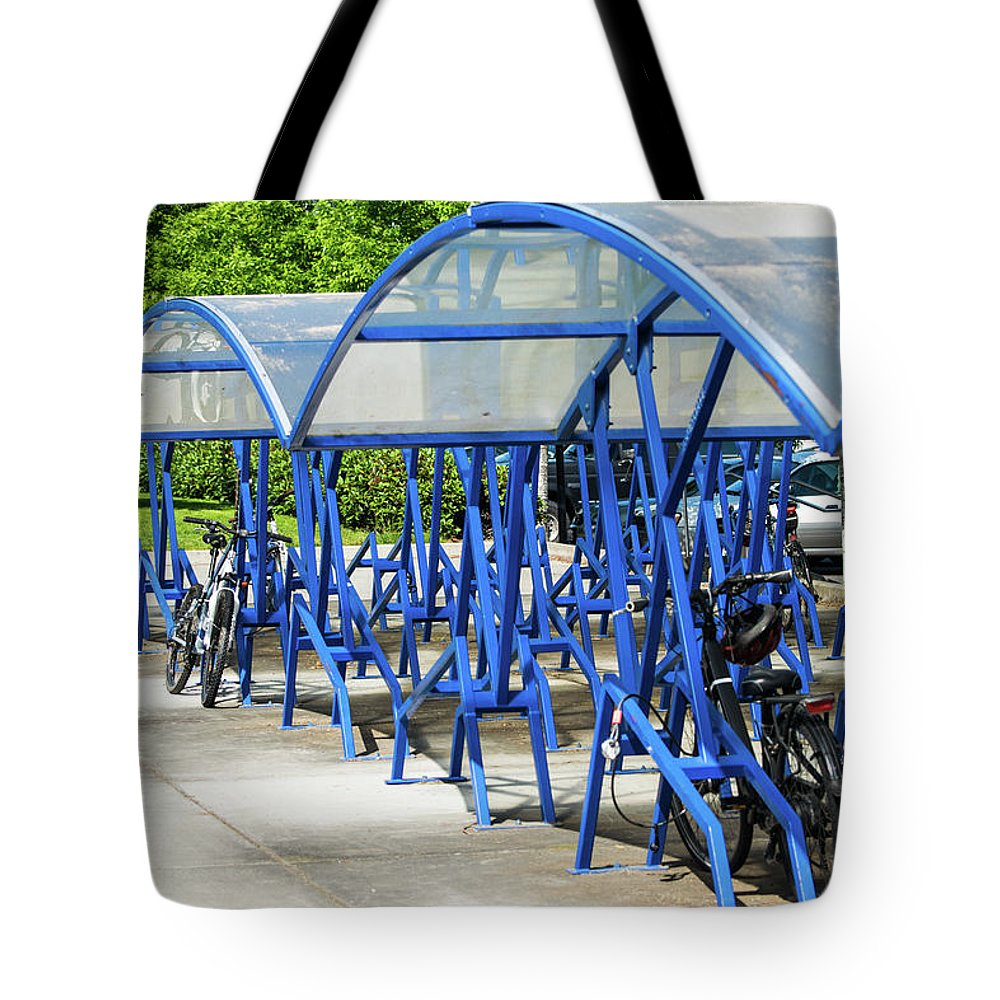 Bicycle Tote Bag featuring the photograph Blue Bicycle Berth by Tom Cochran