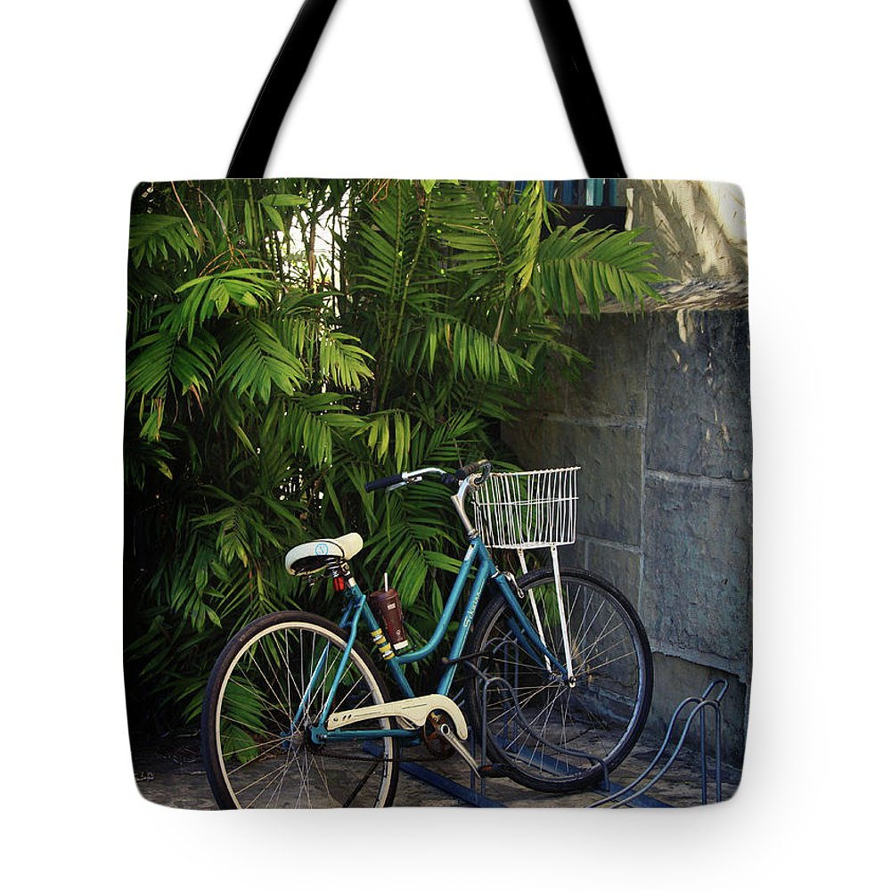 Bicycle Tote Bag featuring the photograph Blue Bike- By Linda Woods by Linda Woods