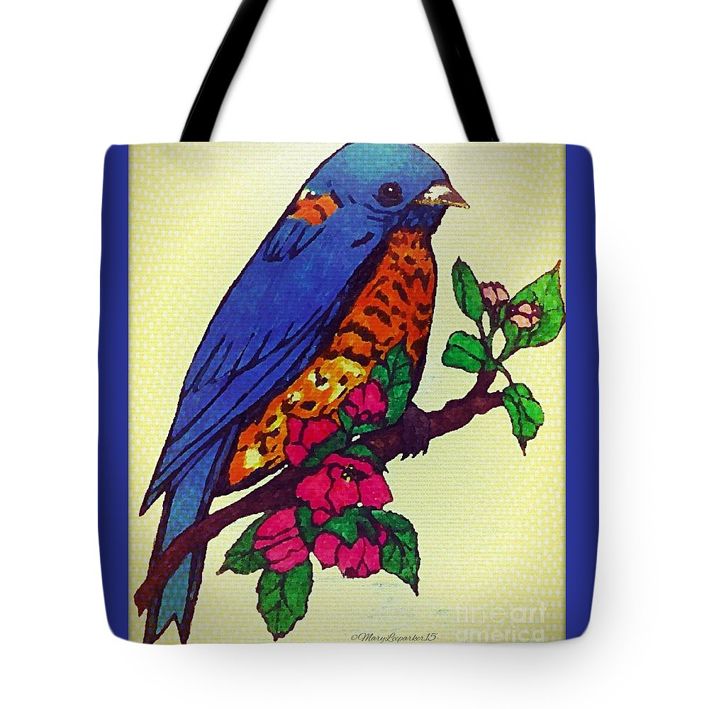 Blue Tote Bag featuring the drawing Blue Bird by MaryLee Parker