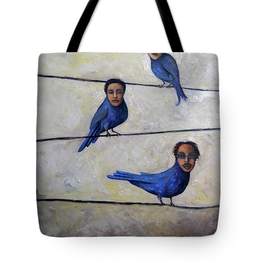 Birds Tote Bag featuring the painting Blue Birds by Leah Saulnier The Painting Maniac