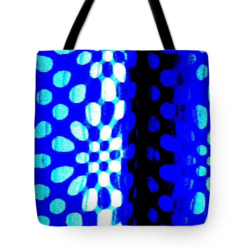 Fantasy Tote Bag featuring the painting Blue Black Pattern Abstract by Eric Schiabor