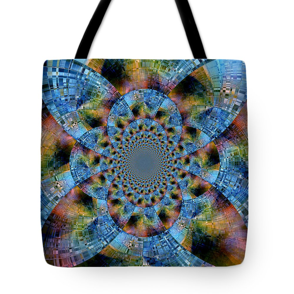 Abstract Tote Bag featuring the digital art Blue Bling by Ruth Palmer
