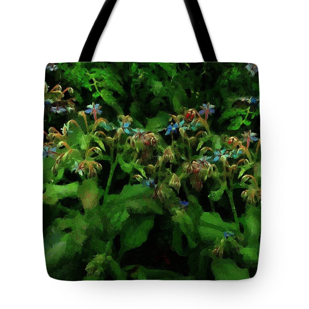 Blossoms Tote Bag featuring the painting Blue Blossoms By Moonlight by RC DeWinter