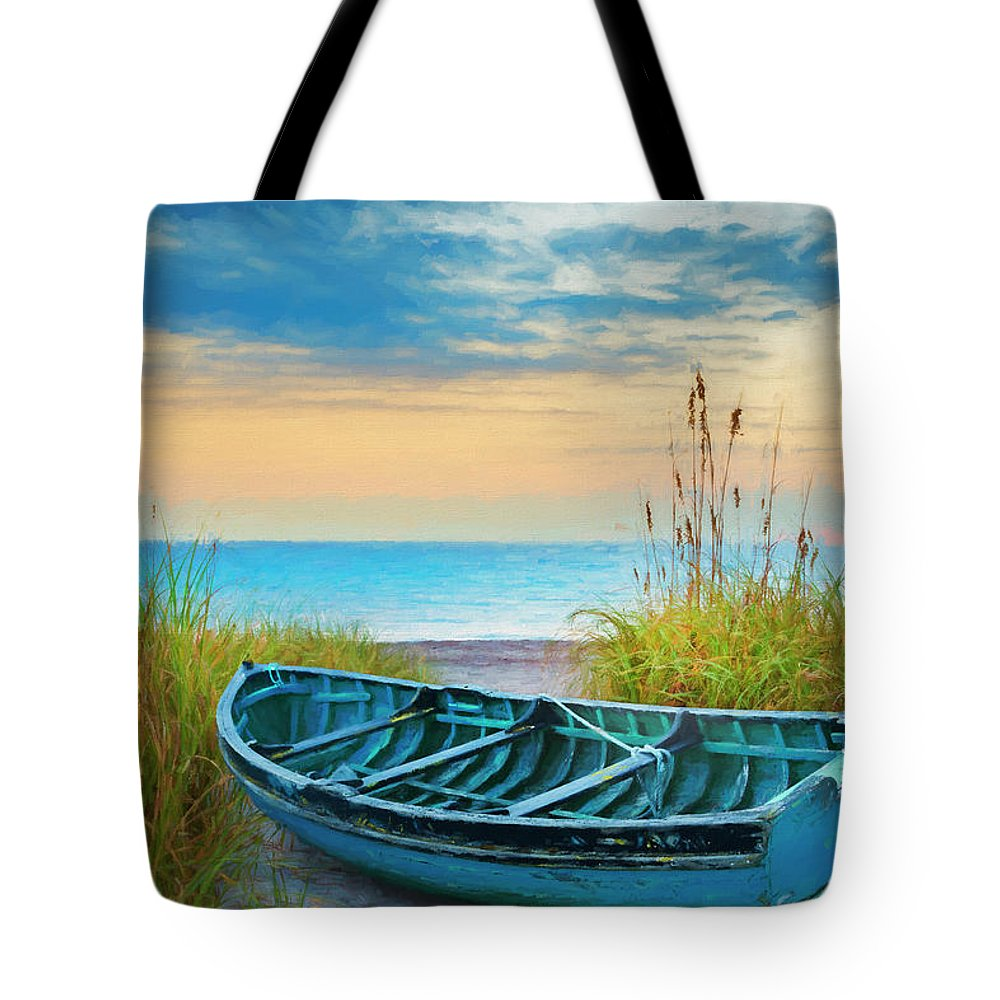Boats Tote Bag featuring the photograph Blue Boat At Dawn Watercolors Painting by Debra and Dave Vanderlaan