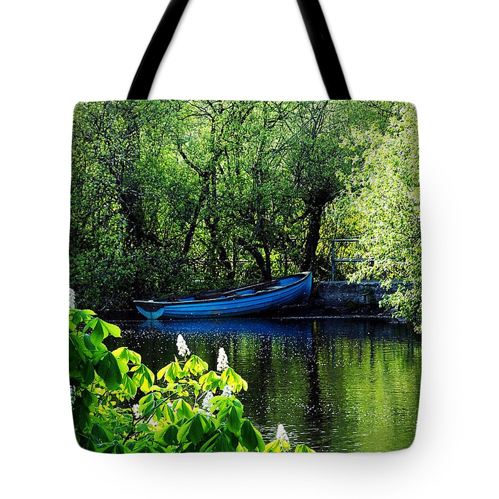 Irish Tote Bag featuring the photograph Blue Boat Cong Ireland by Teresa Mucha