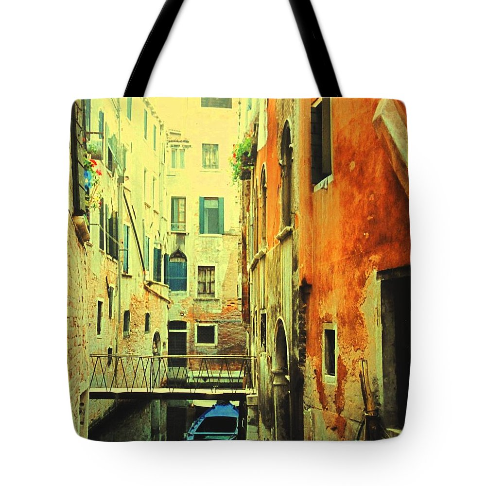 Venice Tote Bag featuring the photograph Blue Boat In Venice by Ian MacDonald