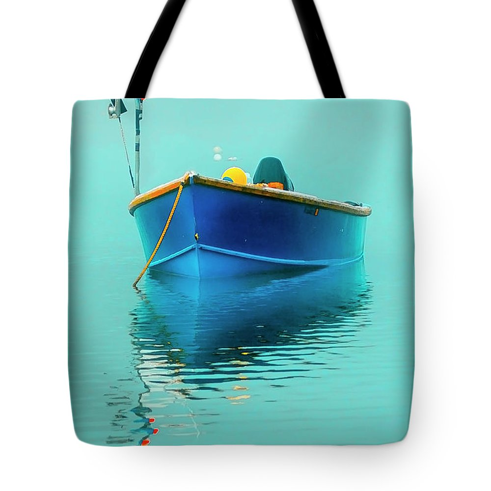 Boats Tote Bag featuring the photograph Blue Boat Reflections by Dapixara Art