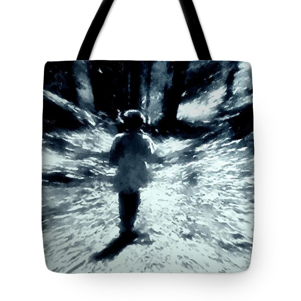 Blue Tote Bag featuring the painting Blue Boy Walking Into The Future by RC DeWinter