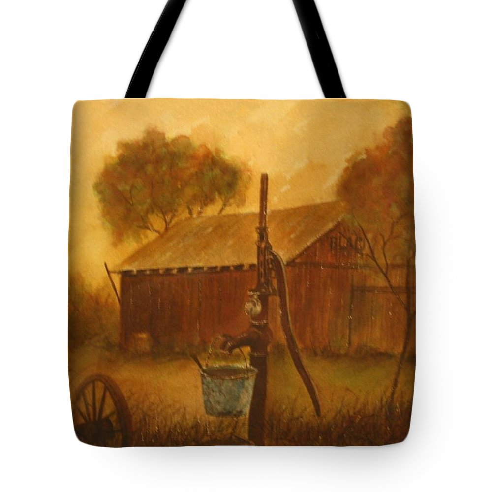 Barn; Bucket; Country Tote Bag featuring the painting Blue Bucket by Ben Kiger