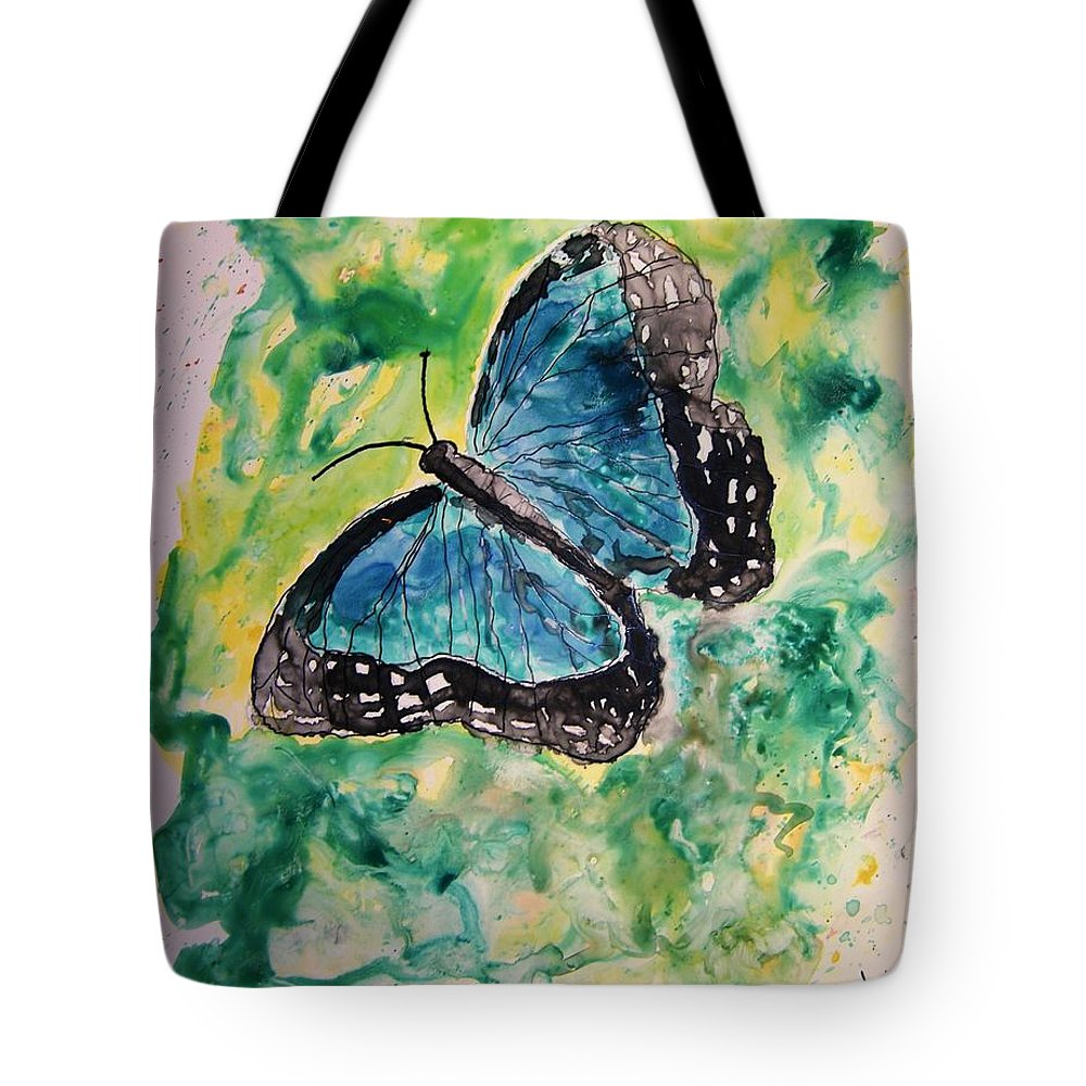 Wildlife Tote Bag featuring the painting Blue Butterfly by Derek Mccrea