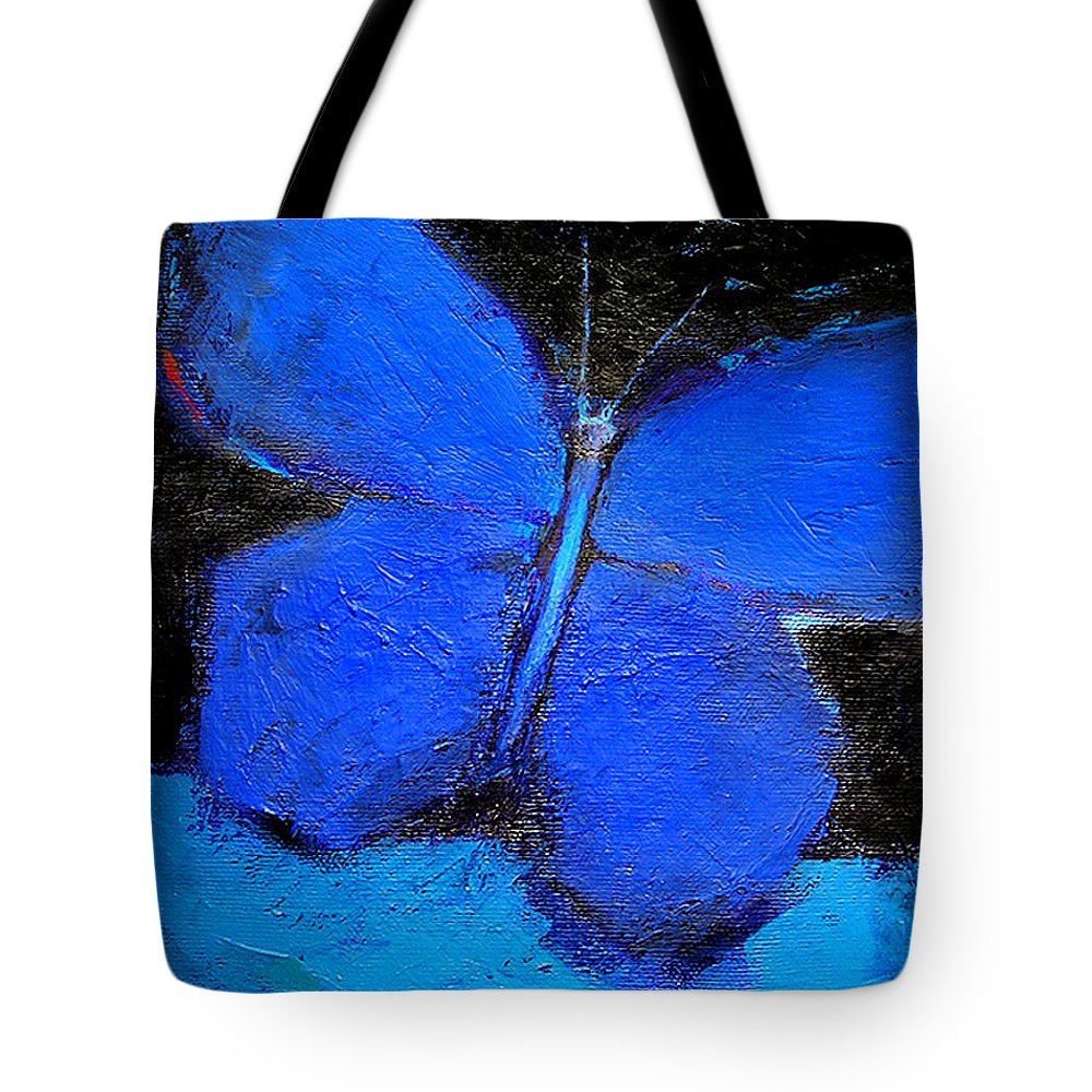 Butterfly Tote Bag featuring the painting Blue Butterfly by Noga Ami-rav