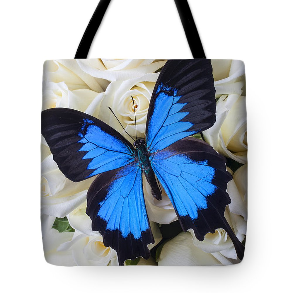 Blue Butterfly Tote Bag featuring the photograph Blue Butterfly On White Roses by Garry Gay