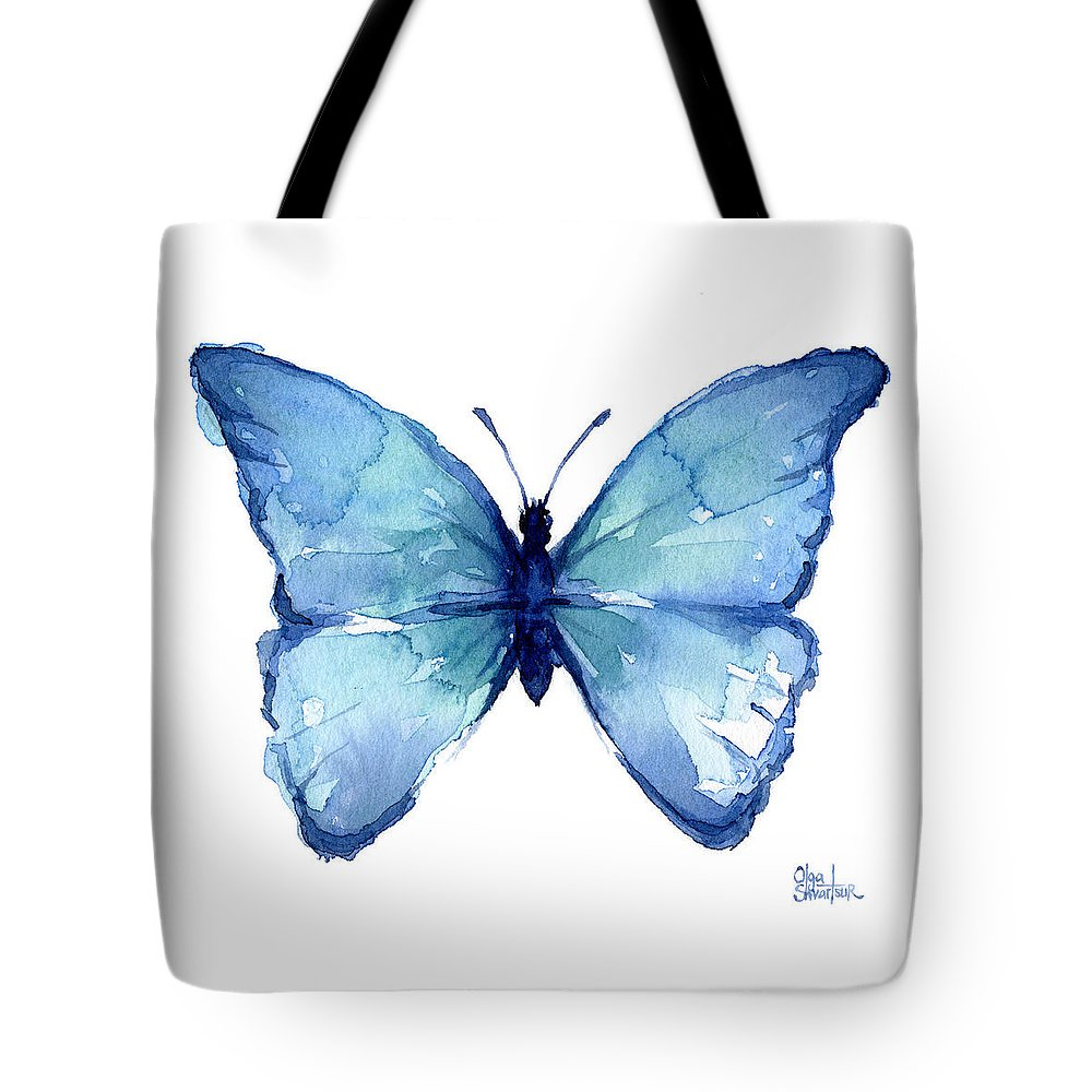 Watercolor Tote Bag featuring the painting Blue Butterfly Watercolor by Olga Shvartsur