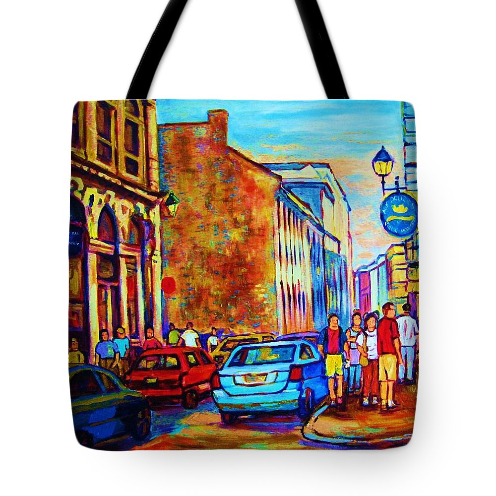 Montreal Tote Bag featuring the painting Blue Cars At The Resto Bar by Carole Spandau