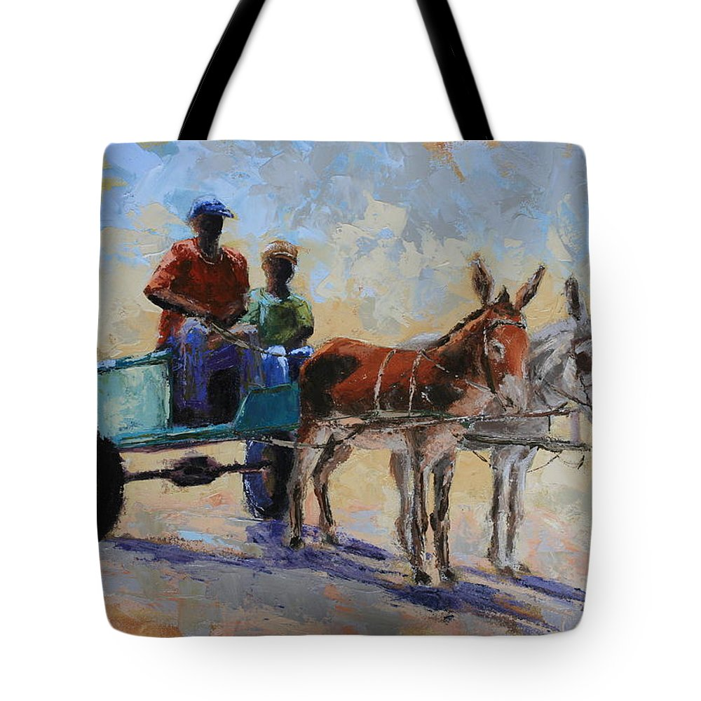 Landscape Tote Bag featuring the painting Blue Cart by Yvonne Ankerman