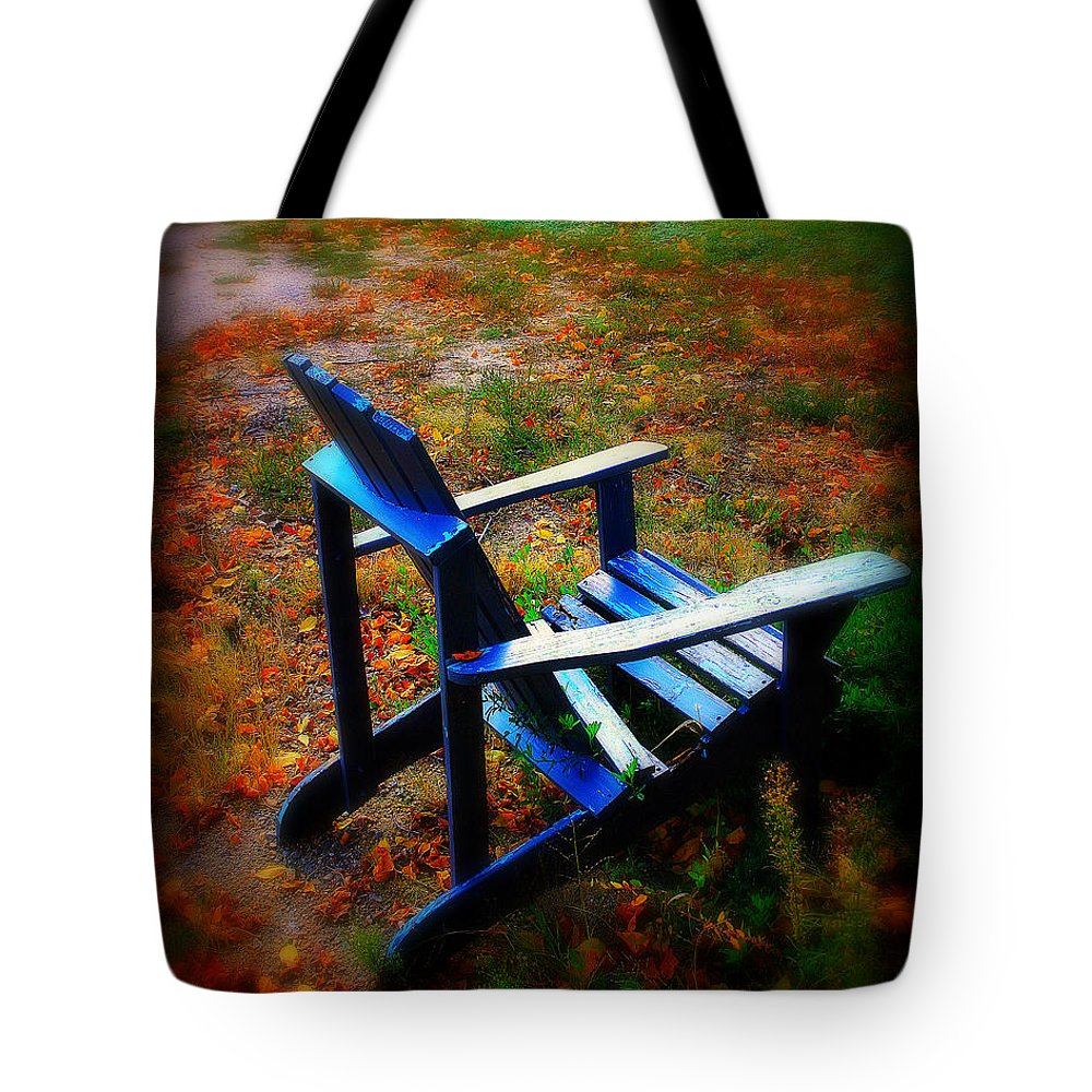 Chair Tote Bag featuring the photograph Blue Chair by Perry Webster