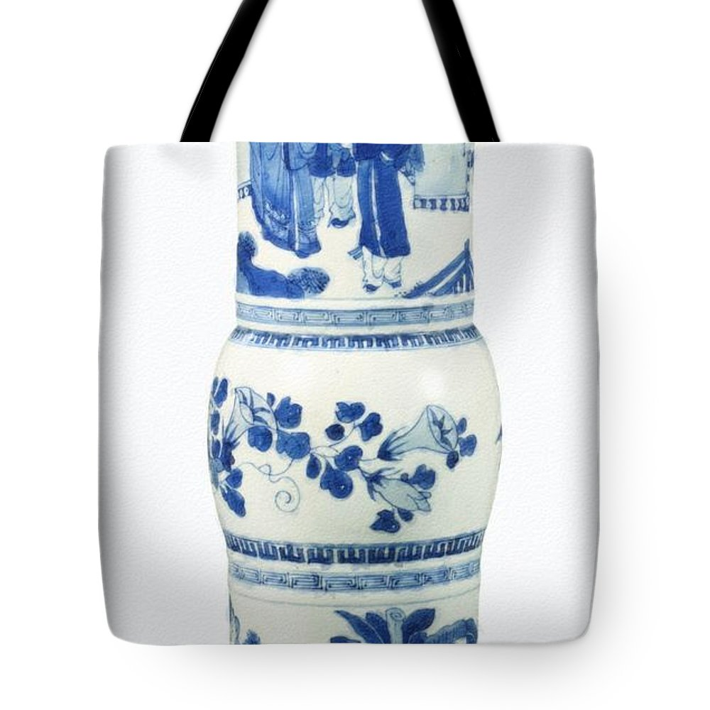 Blue Chinese Chinoiserie Pottery Vase No 3blue & White Chinese Porcelain Around The World Tote Bag featuring the painting Blue Chinese Chinoiserie Pottery Vase No 3 by Celestial Images