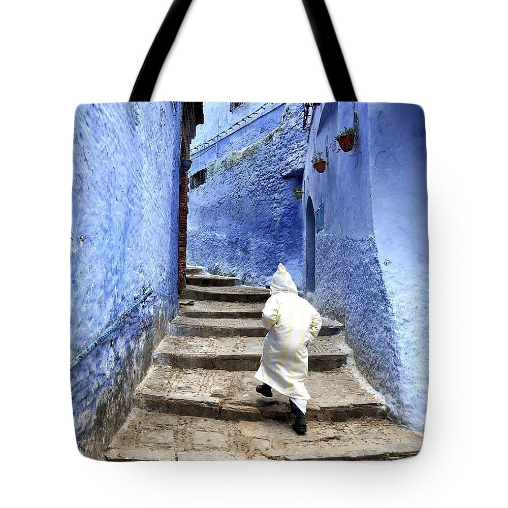 Tote Bag featuring the pyrography Blue City Kid by James Rosales