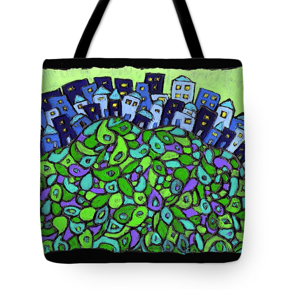 City Tote Bag featuring the painting Blue City On A Hill by Wayne Potrafka