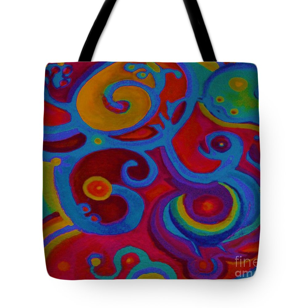 Abstract Tote Bag featuring the painting Blue Corn Flower by Sidra Myers