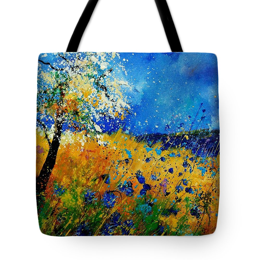 Poppies Tote Bag featuring the painting Blue cornflowers 450108 by Pol Ledent